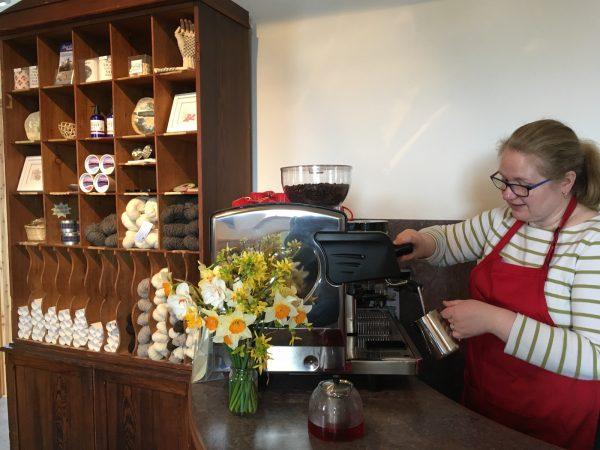 Dana MacPhee serves coffee at the Grimsay cafe